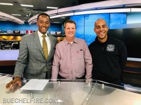 L to R: Stephon Dingle (WLKY), Chief Chris Gosnell (R), and FF Jordan Yuodis